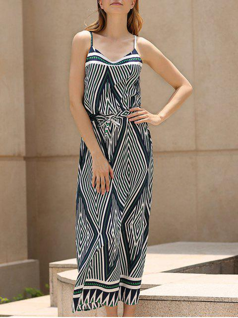 Argyle Imprimer bretelles spaghetti Maxi Dress - Multicolore L Mobile
