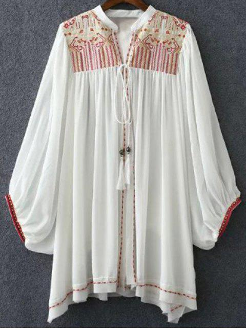 Retro Embroidery Stand Neck Batwing Ärmel Bluse - Weiß S Mobile