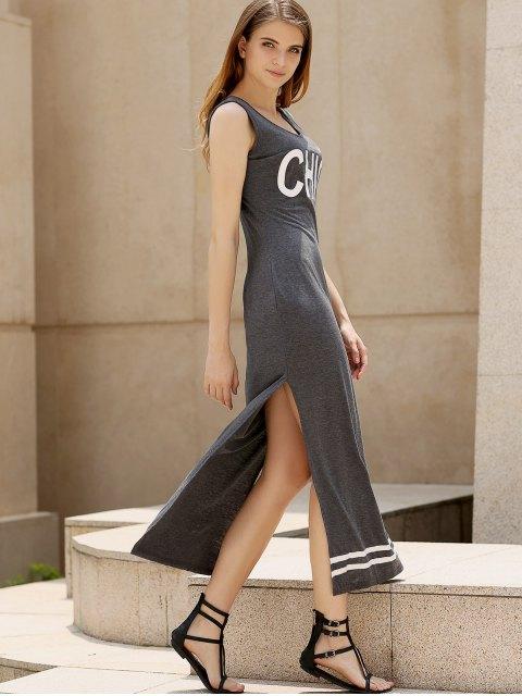 sale Side Slit Scoop Neck Letter Print Maxi Dress - DEEP GRAY L Mobile