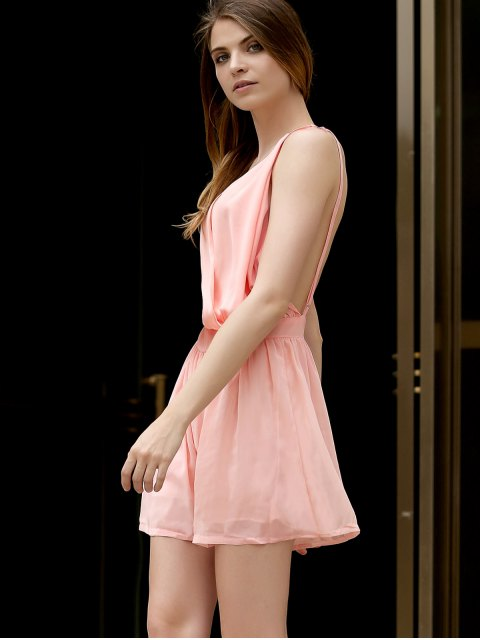 new Backless Cross-Over Chiffon Romper - PINK XL Mobile