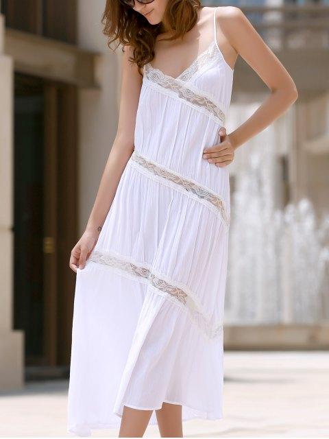 Dentelle Backless Sundress - Blanc S Mobile