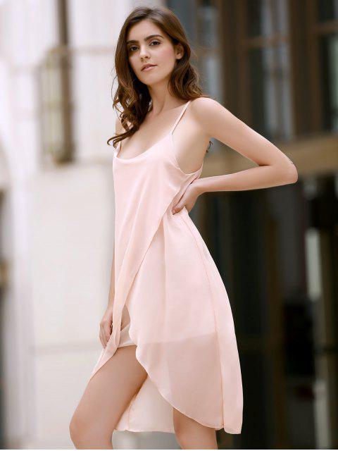 new Irregular Hem Chiffon Cami Dress - APRICOT M Mobile