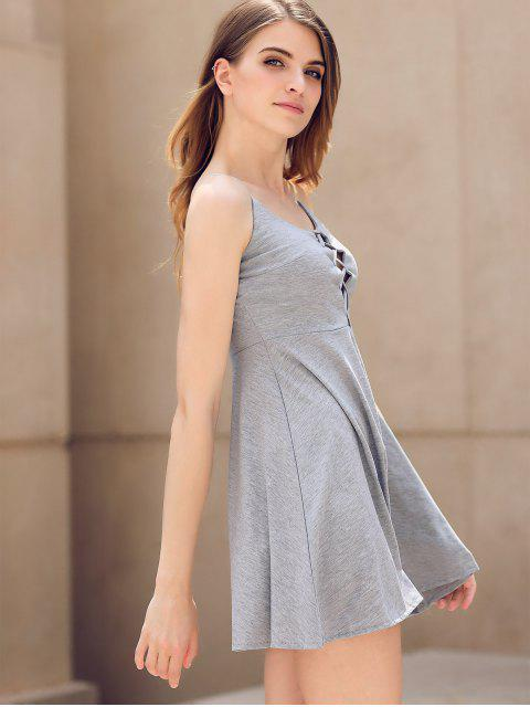 ladies Fit and Flare Lace-Up Dress - GRAY M Mobile