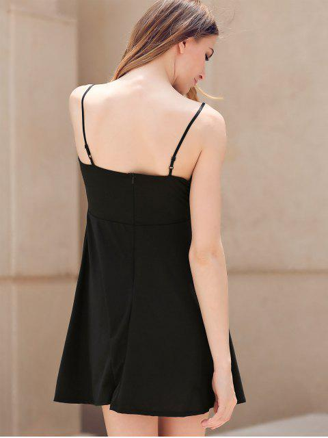womens Fit and Flare Lace-Up Dress - BLACK L Mobile