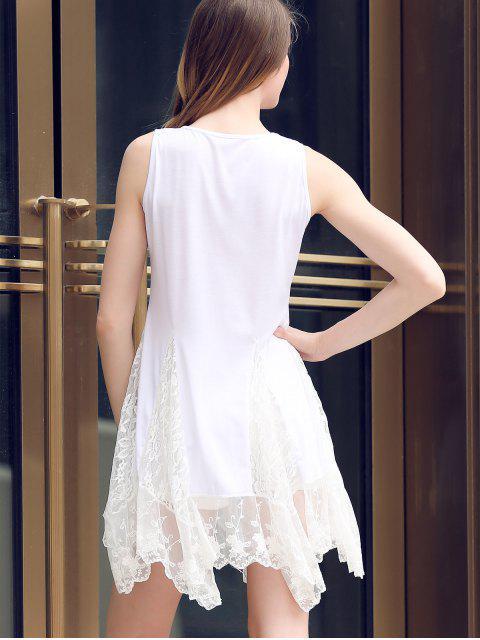 buy Lace Hem Swingy Tank Dress - WHITE S Mobile