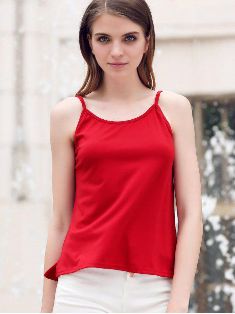 fancy Crisscross Straps Solid Color Tank Top - RED XL Mobile