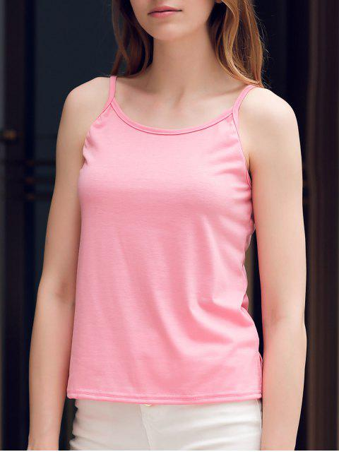 shop Crisscross Straps Solid Color Tank Top - PINK M Mobile