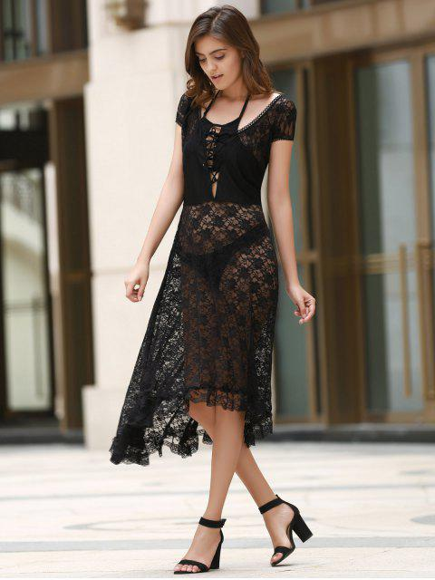 Scoop Neck Fit et robe en dentelle Flare - Noir L Mobile