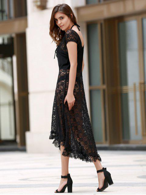 sale Scoop Neck Fit and Flare Lace Dress - BLACK XL Mobile