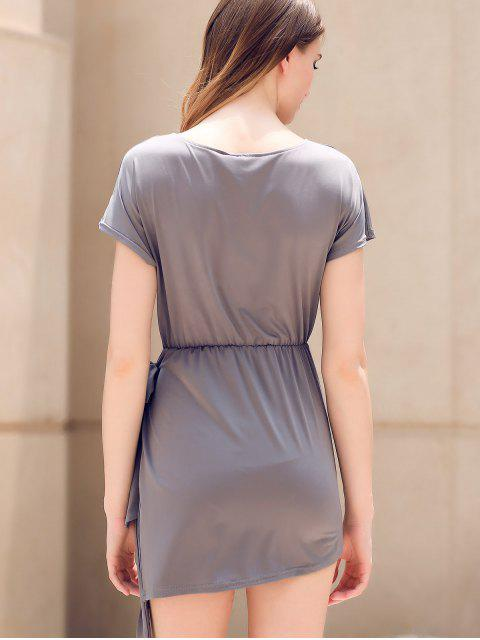 chic Tie Front Irregular Dress - GRAY S Mobile