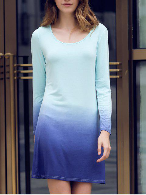 Ombre Scoop Neck Langarm Kleid - Dunkelblau XL  Mobile