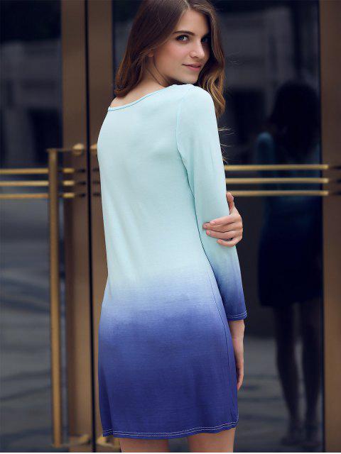 fancy Ombre Scoop Neck Long Sleeve Dress - DEEP BLUE XL Mobile