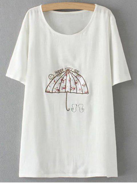 Plus Size Umbrella T-shirt - Blanc XL Mobile