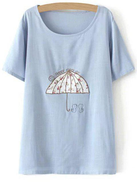 ladies Plus Size Umbrella T-Shirt - LIGHT BLUE 2XL Mobile
