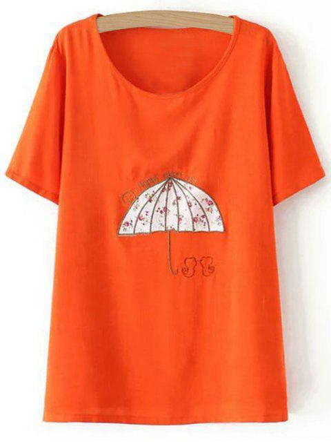 Plus Size Umbrella T-shirt - Tangerine 2XL Mobile