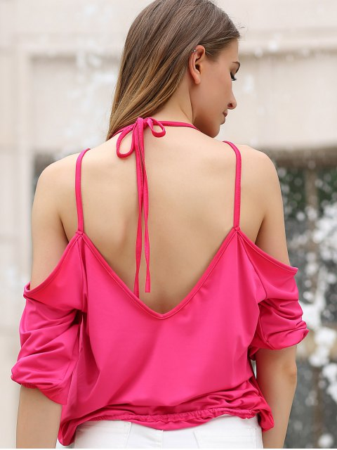 women Cold Shoulder Plunging Neck Crossed T-Shirt - ROSE S Mobile