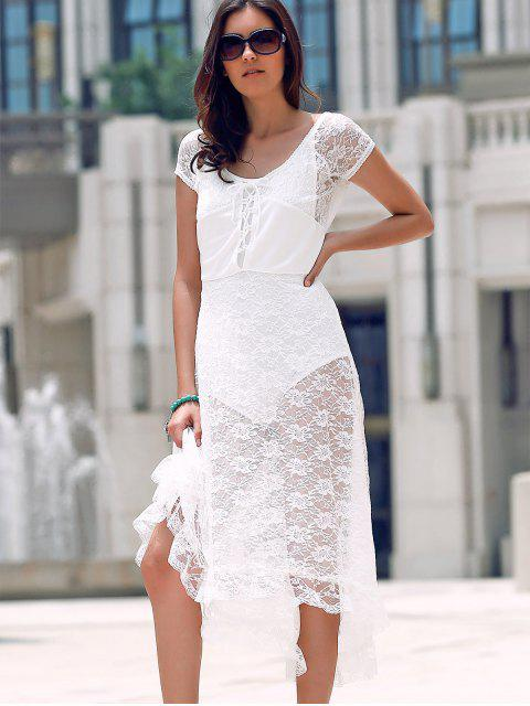 shops Scoop Neck Fit and Flare Lace Dress - WHITE M Mobile
