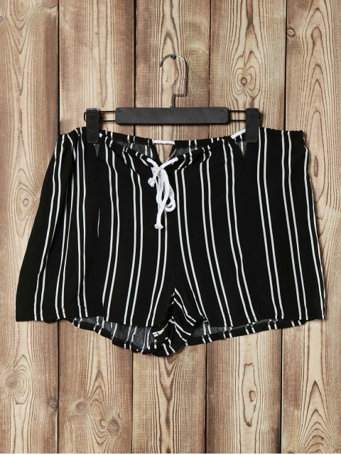 buy Loose Striped Cut Out High Waist Shorts - BLACK XL Mobile