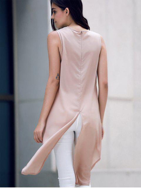 fashion Irregular Hem Chiffon Round Neck Tank Top - KHAKI L Mobile