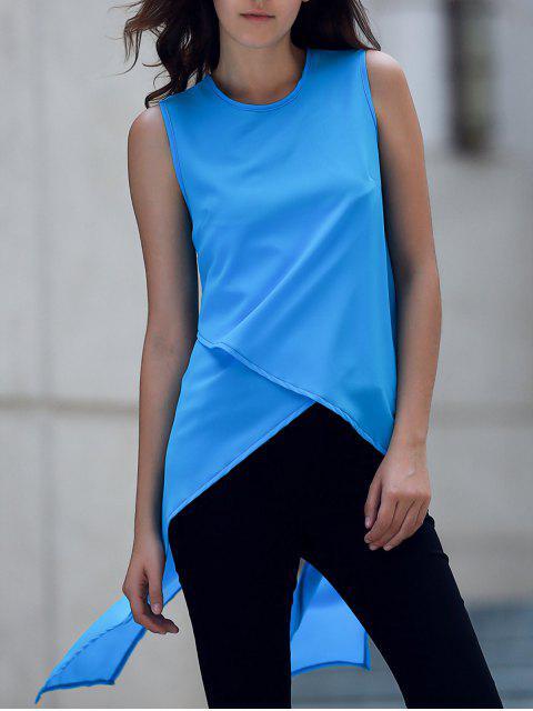Dobladillo irregular de la gasa de cuello redondo sin mangas - Azul S Mobile