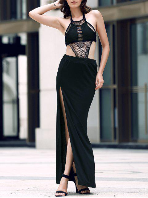 affordable Sexy Backless Halter Neck Slit Maxi Dress - BLACK L Mobile