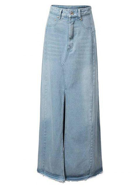 lady Front Slit Long Denim Skirt - LIGHT BLUE M Mobile