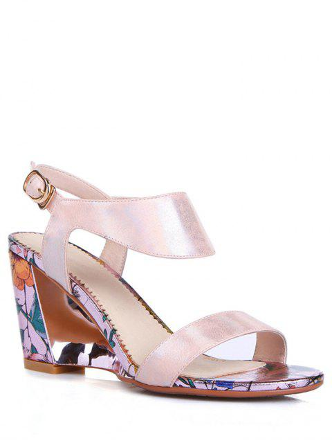 fancy Print Candy Color Wedge Heel Sandals - PINK 38 Mobile