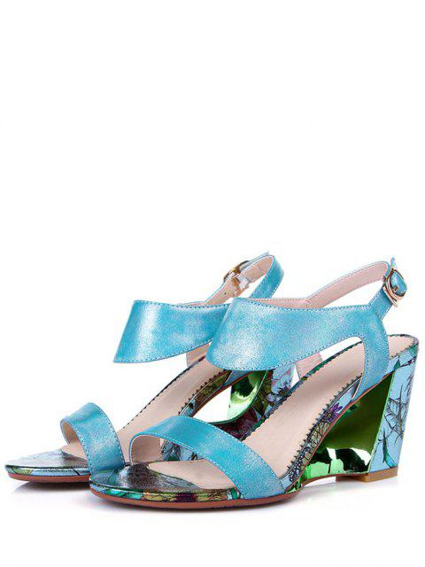 outfit Print Candy Color Wedge Heel Sandals - BLUE 36 Mobile