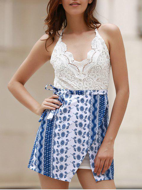 Top de encaje sin espalda vestido de la impresión tribal - Azul y Blanco M Mobile