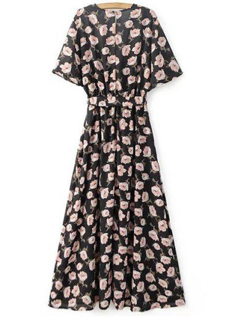 lady Crossover Printed Maxi Chiffon Dress - BLACK L Mobile