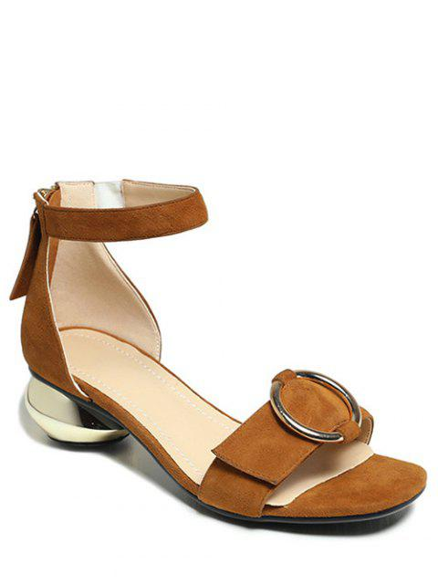 outfit Metal Strange Heel Ankle Strap Sandals - BROWN 38 Mobile