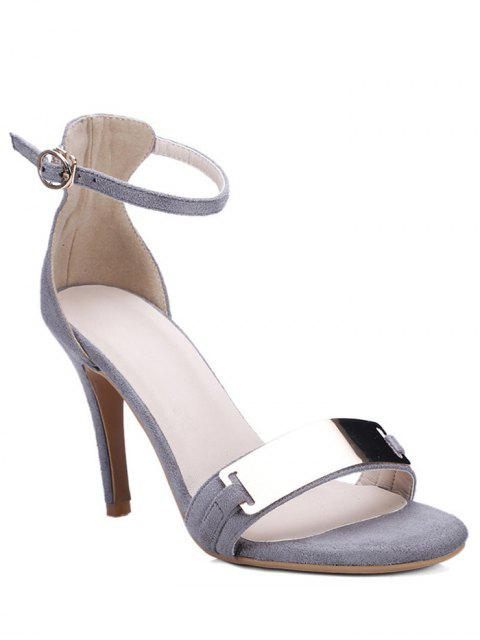 Sandales décorées de métal à talons aiguilles à bride cheville - Gris 34 Mobile