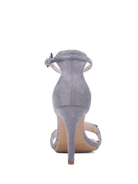lady Stiletto Heel Ankle Strap Metal Sandals - GRAY 34 Mobile