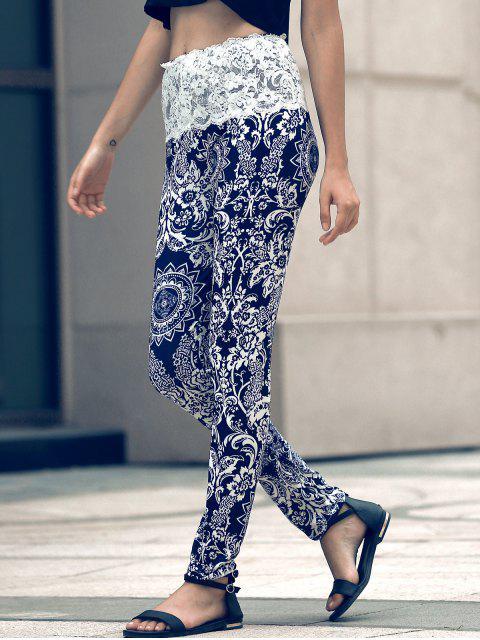 sale Ethnic Print Lace Spliced Skinny Pants - BLACK L Mobile