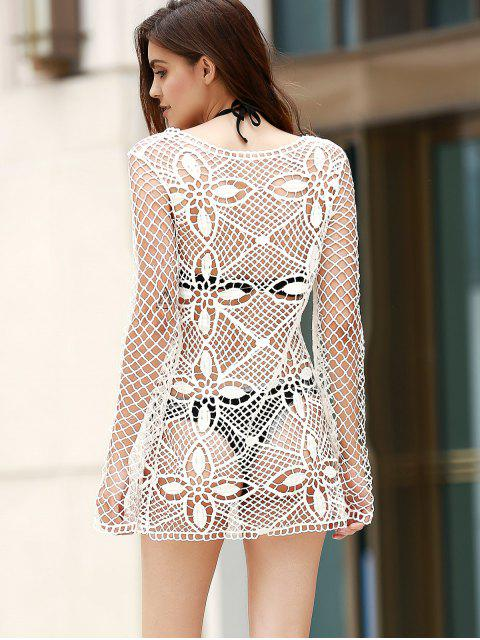 outfit Hollow Out Scoop Neck Long Sleeve Bodycon Dress - WHITE ONE SIZE(FIT SIZE XS TO M) Mobile