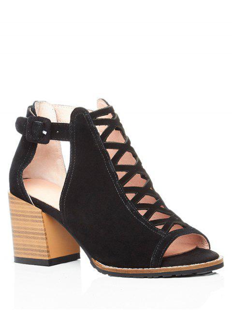 women's Criss-Cross Chunky Heel Peep Toe Shoes - BLACK 37 Mobile