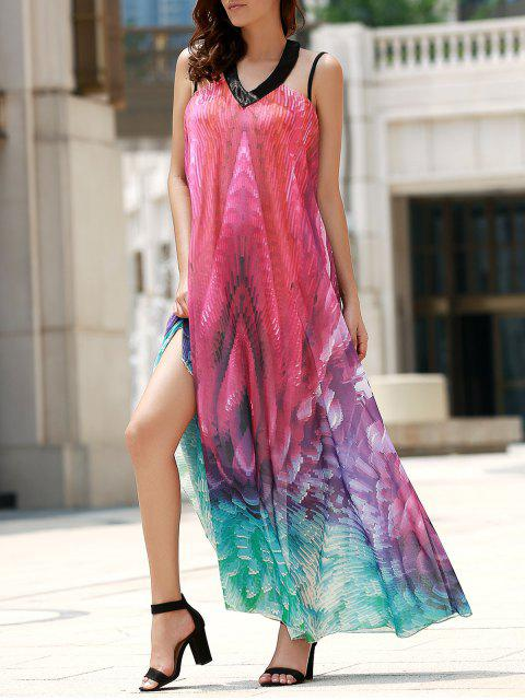 sale Flowy Maxi Chiffon Holiday Beach Dress - COLORMIX S Mobile