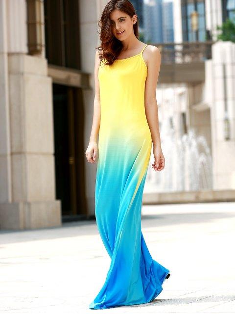 buy Halter Gradient Color Long Dress - COLORMIX M Mobile
