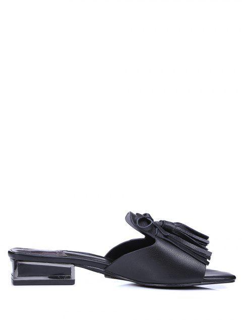 new Fringe Solid Color Low Heel Slippers - BLACK 39 Mobile