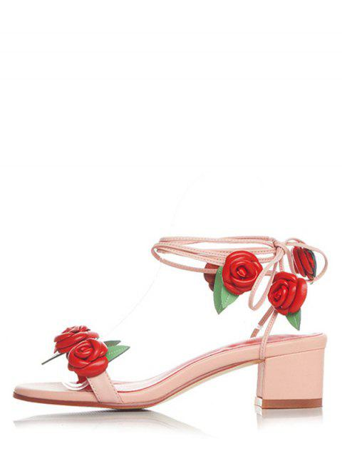 buy Rose Lace-Up Chunky Heel Sandals - PINK 38 Mobile