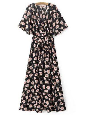 Crossover Printed Maxi Chiffon Dress