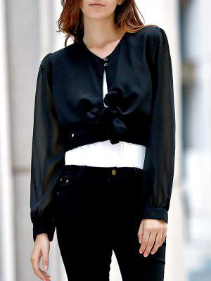 Camisa Corta Sólido De Color Perspectiva Cuello En V Manga Larga - Negro - Negro M