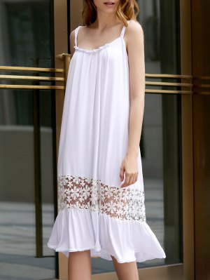 White Lace Splice Bretelles Spaghetti Robe - Blanc