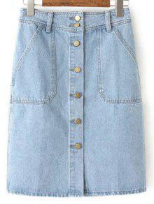 Buy Button Closure Denim Midi Skirt - LIGHT BLUE M