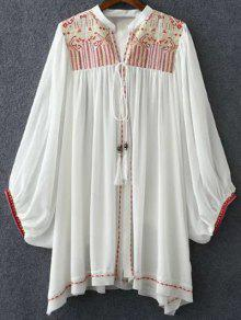 Retro Embroidery Stand Neck Batwing Sleeve Blouse - White S