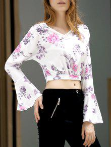 Fitting Floral Print V Neck Flare Sleeve Crop Top - White S