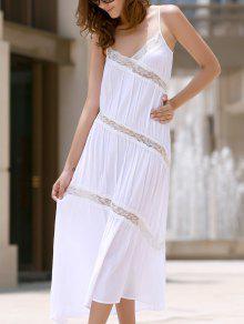 Detalhe Lace Sem Costas Vestido De Verão - Branco S