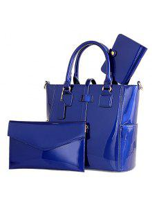Buy Trendy Patent Leather Solid Color Design Tote Bag Women - BLUE