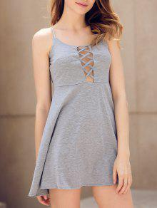 Fit And Flare Lace-Up Dress - Gray M