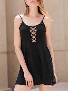 Fit And Flare Lace-Up Dress - Black M